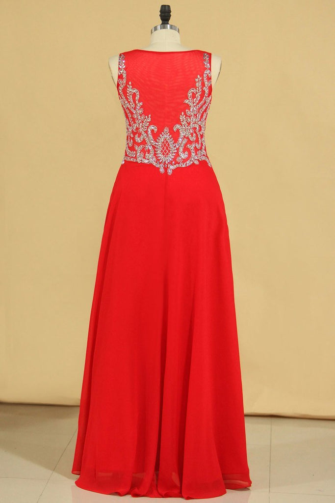 Red Plus Size V Neck Beaded Bodice Chiffon & Tulle A Line Prom