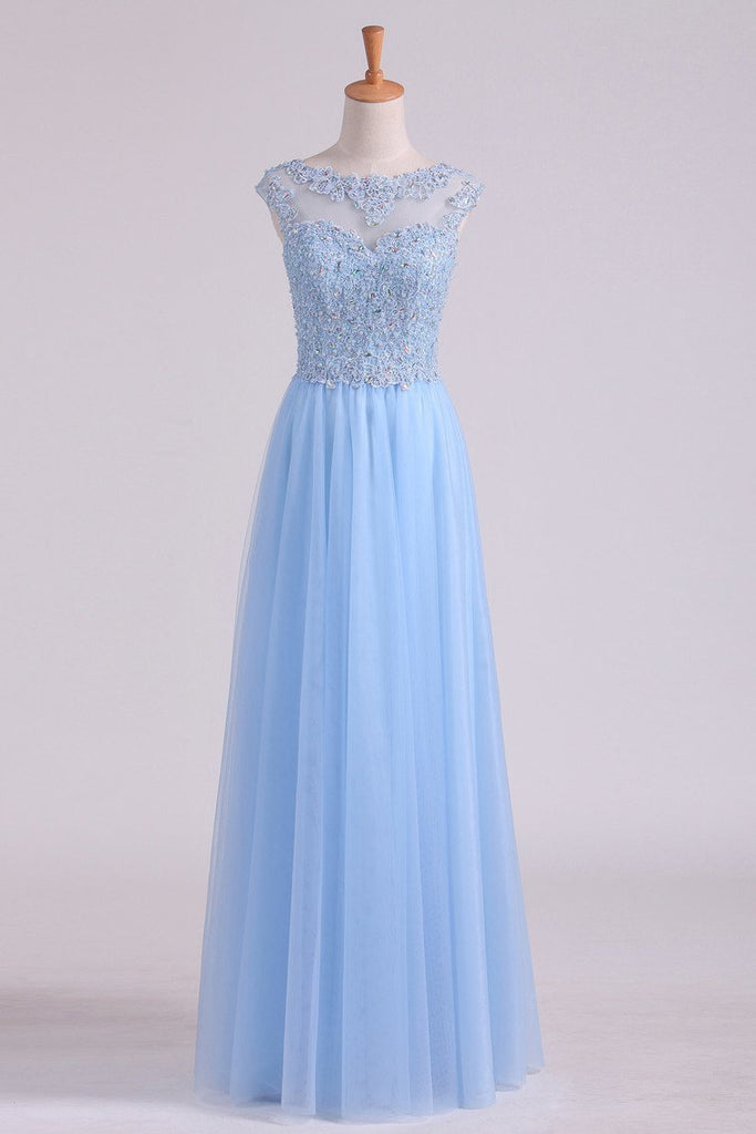 2019 Scoop A Line Prom Dress Beaded Floor Length Pick Up Tulle Skirt With