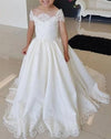 Lovely Cap Sleeves Appliques Ball Gown Little Flower Girl Dress, Off the Shoulder Baby Dress STC15257