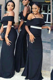 Charming Off the Shoulder Mermaid Dark Navy Blue Bridesmaid Dresses with STC20457
