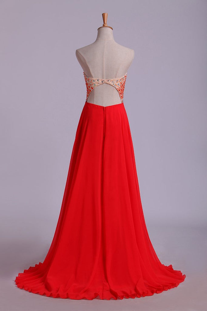 2019 Splendid Sweetheart Prom Dresses A Line Chiffon With Beads Open