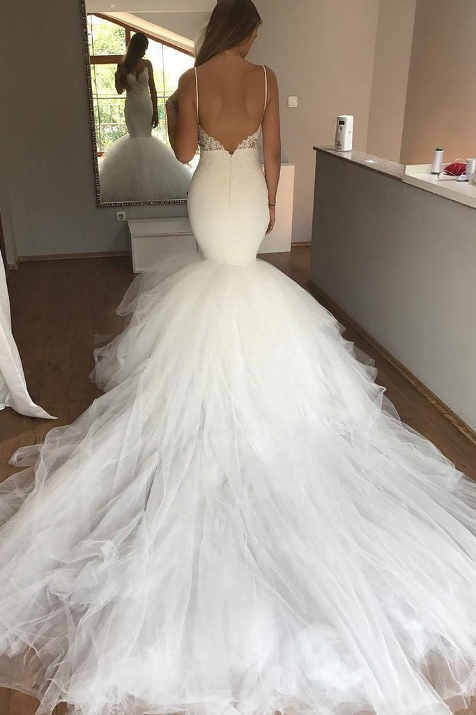 2019 Spaghetti Straps Wedding Dresses Mermaid Tulle With Applique
