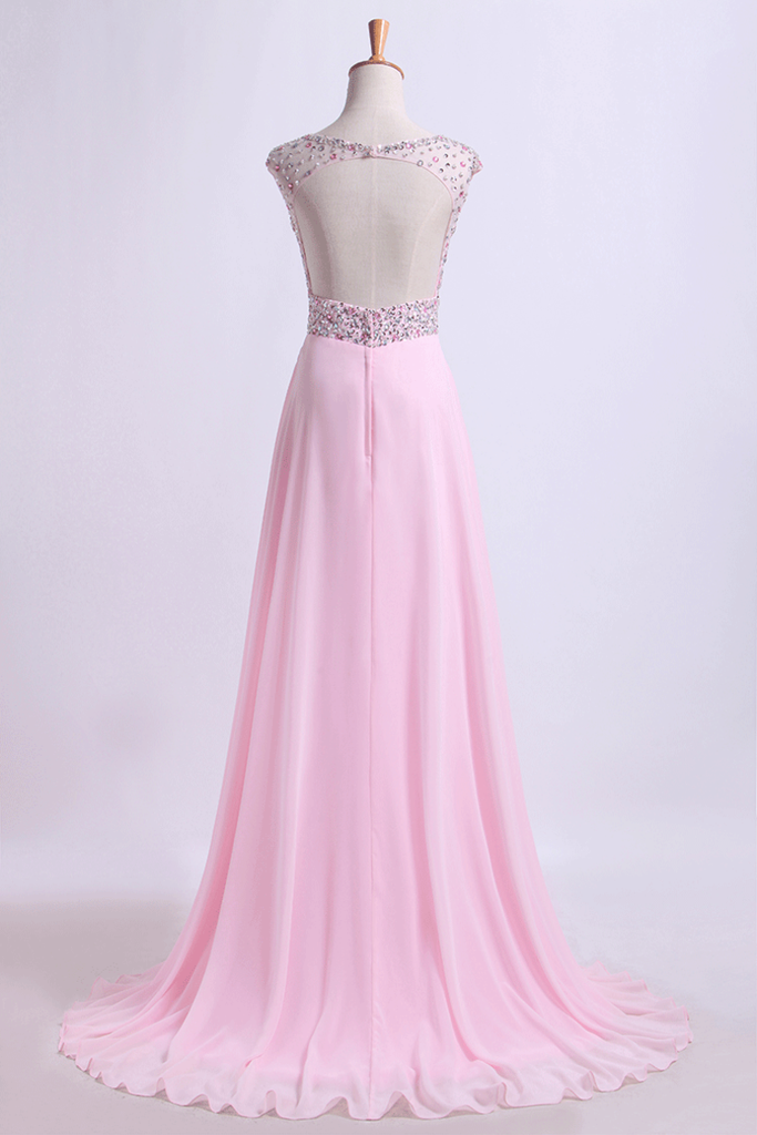 2019 Scoop Neckline Beaded Bodice A Line Open Back With Chiffon Skirt Sweep