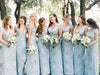 Mermaid Lace Baby Blue V Neck Bridesmaid Dresses for Wedding STC20425