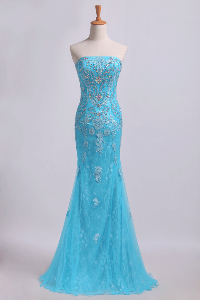 2019 Prom Dresses Strapless Mermaid With