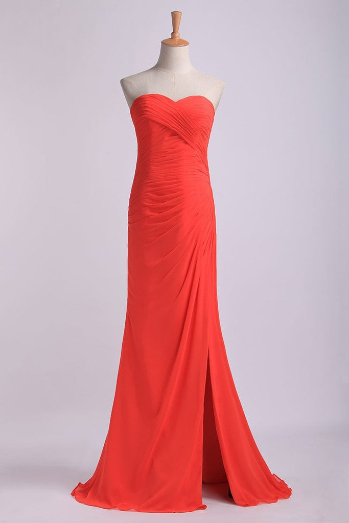 Sheath/Column Prom Dresses Sweetheart Chiffon With Slit And Ruffles Floor