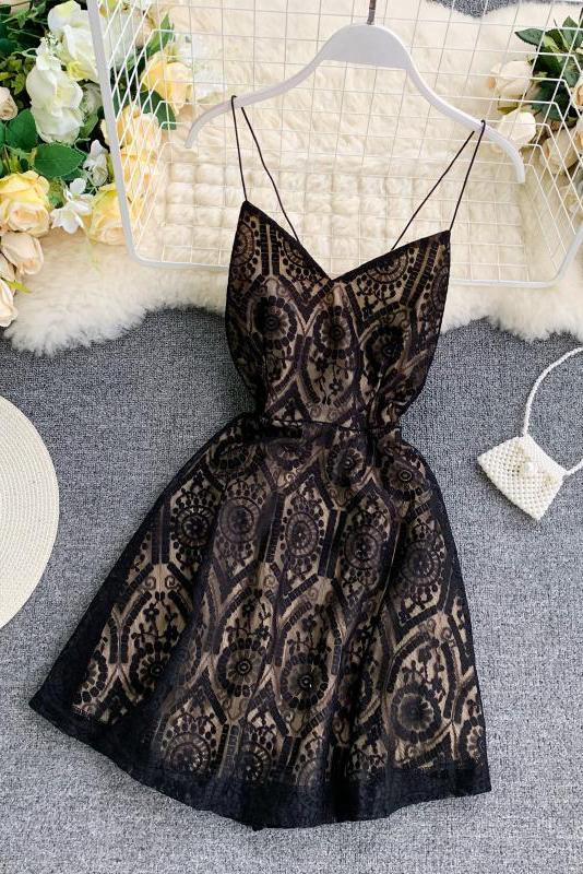 A Line Spaghetti Straps Lace V Neck Navy Blue Homecoming Dresses, Sweet 16 Dresses STC15555