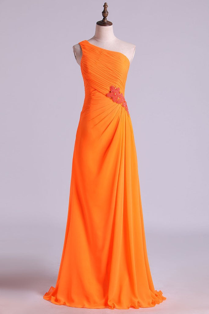 2019 One Shouder Column Evening Dresses Chiffon With Beads With Ruffles