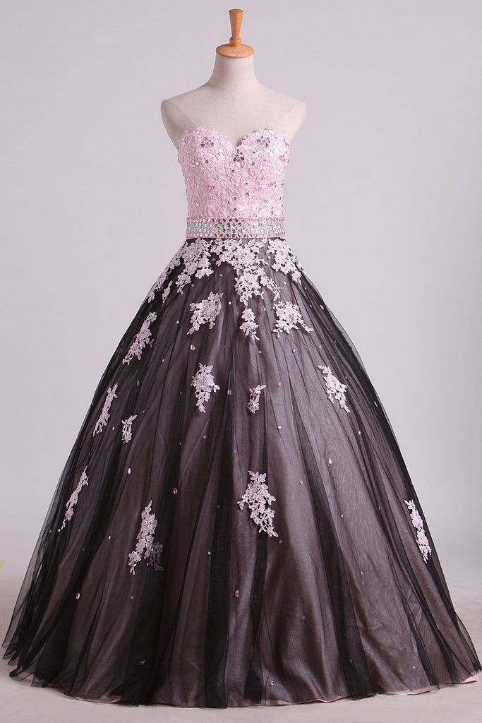 2019 Quinceanera Dresses Sweetheart Tulle With Beading And Applique Floor