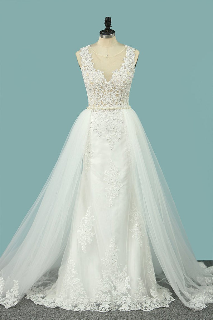 2019 Mermaid Wedding Dresses Scoop Tulle With Applique Court Train