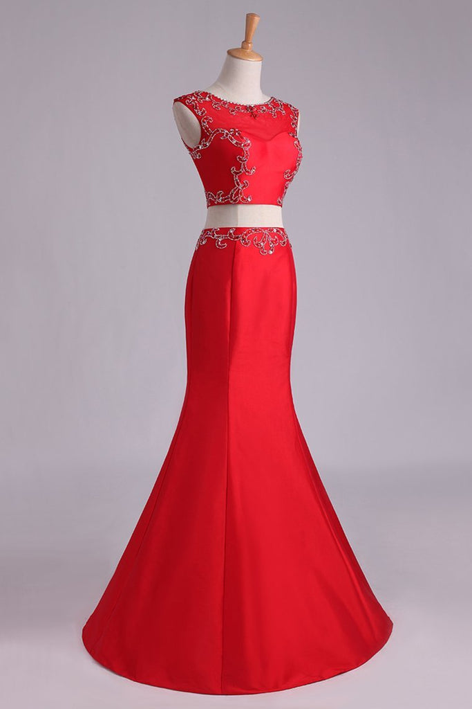 2019 Prom Dresses Two Pieces Bateau Mermaid/Trumpet Beaded Floor-Length Tulle And