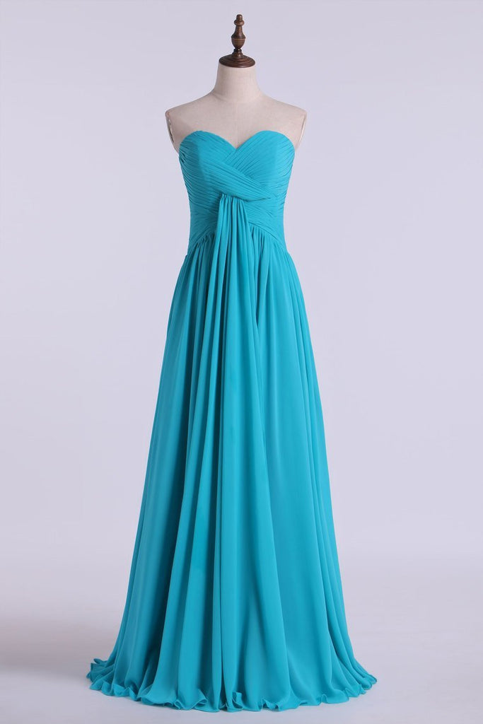 2019 Prom Dresses A Line Floor Length Sweetheart Chiffon With Ruffles