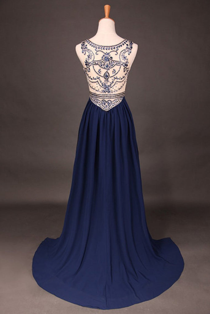 Stunning Prom Dresses Champagne Beaded Bodice And Back A-Line Scoop Sweep/Brush