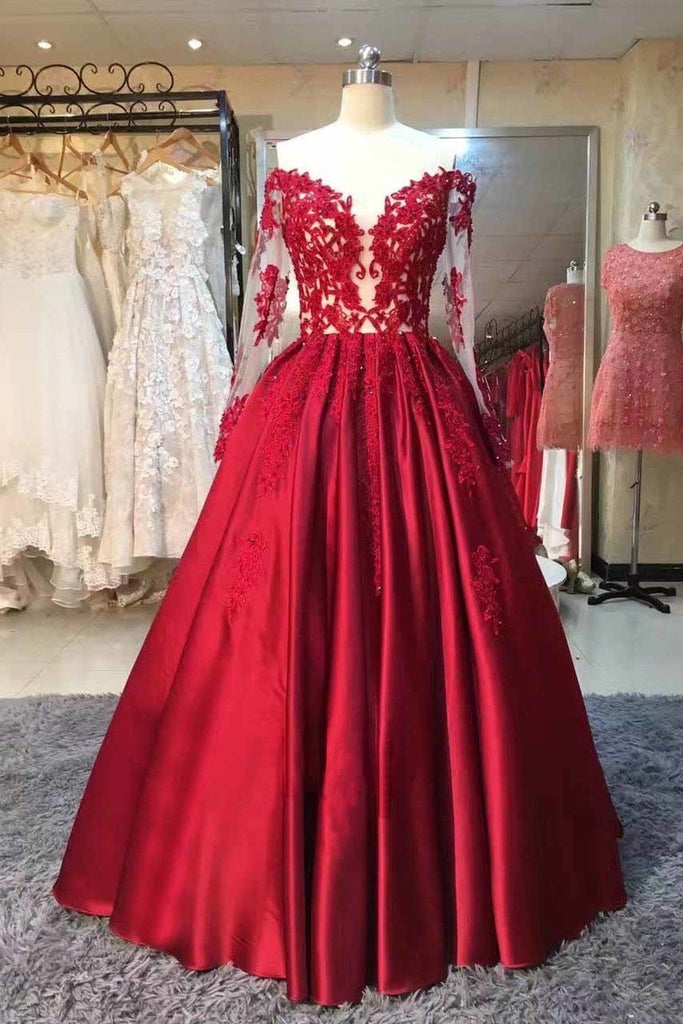 2021 Long Sleeves Prom Dresses A Line Satin With Applique Floor