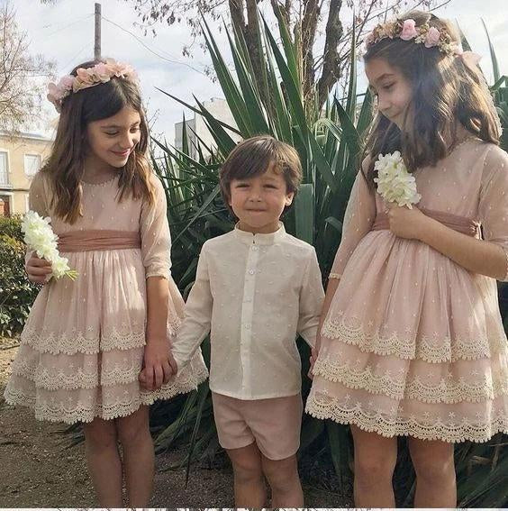 A Line Half Sleeves Pink Round Neck Flower Girl Dresses with Appliques, Baby Dresses STC15546