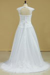 Open Back A Line Tulle With Applique And Handmade Flower Wedding Dresses Court Train