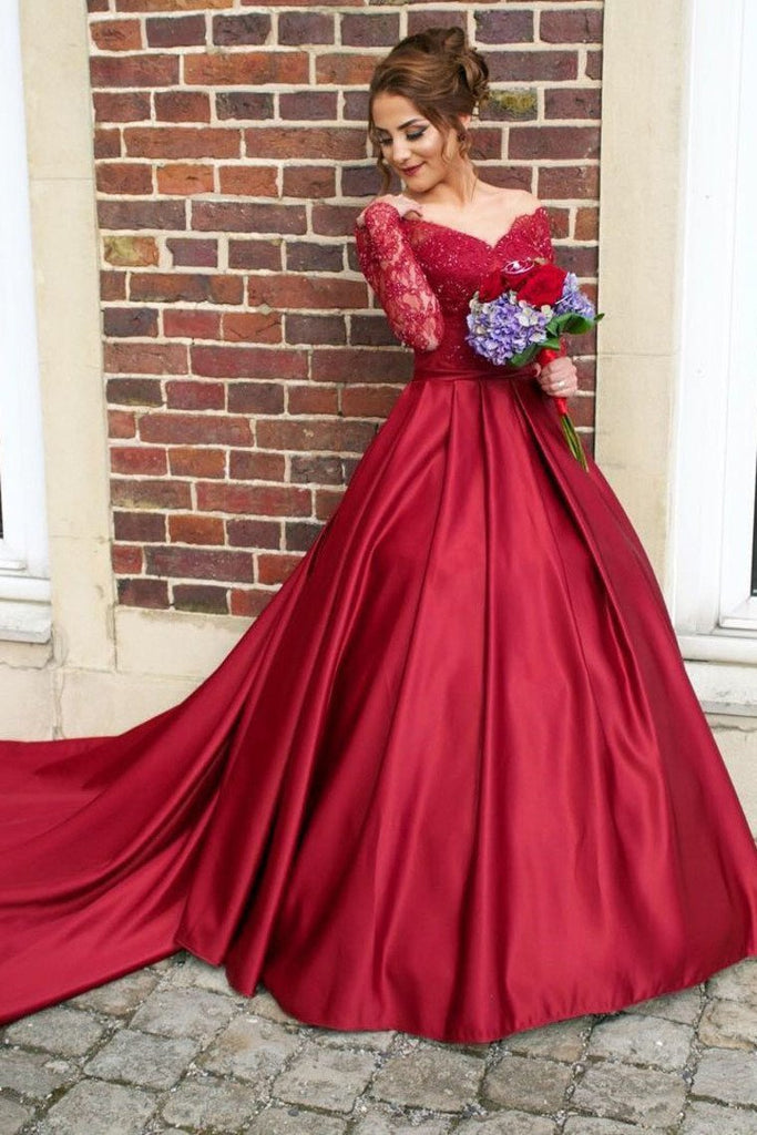 2019 A Line Scoop Prom Dresses Long Sleeves Satin With Applique Court