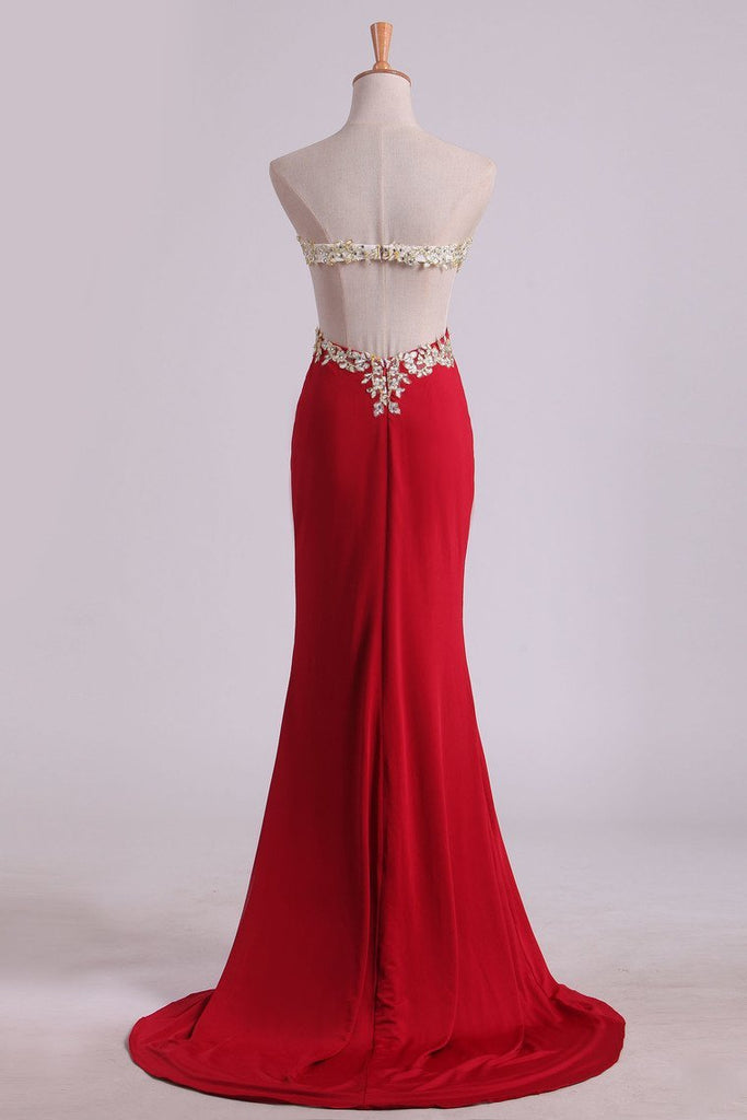 2019 Prom Dresses Sheath Sweetheart Spandex With Slit And Applique Sweep