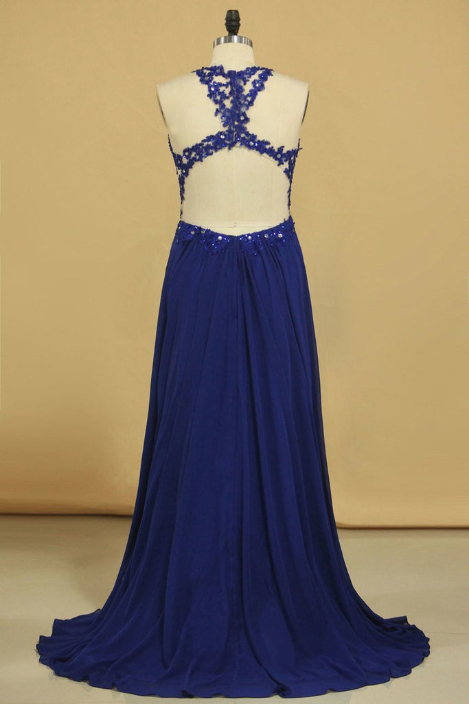 Prom Dresses A Line Scoop Chiffon With Applique Floor Length