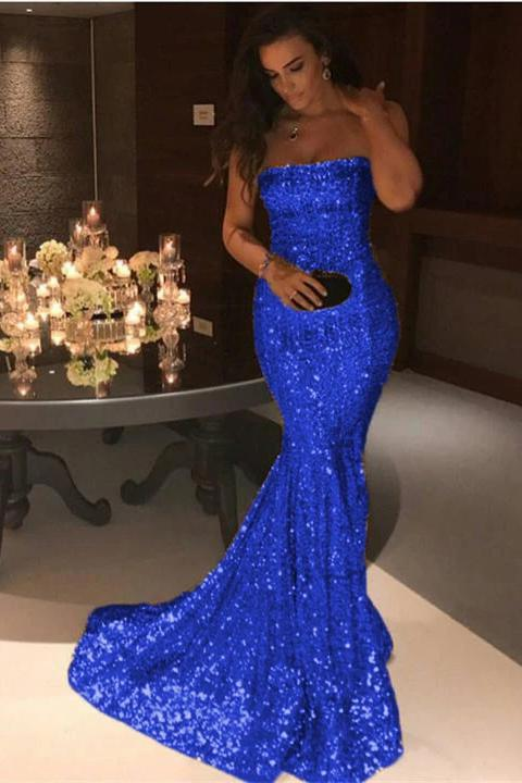 Sexy Mermaid Sequins Strapless Long Evening Dresses Simple Prom STC15665