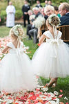 Cute A-line White Long Tulle Flower Girl Dress with Bowknot, Baby Dresses STC15572