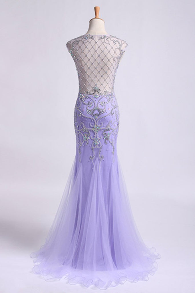 2019 Terrific Scoop Beaded And Fitted Bodice Mermaid/Trumpet Prom Dress