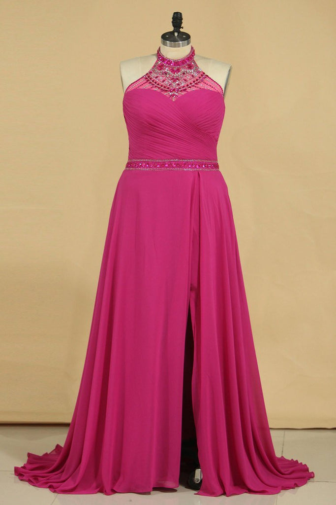 2020 A Line High Neck Prom Dresses Chiffon With Beading And Ruffles