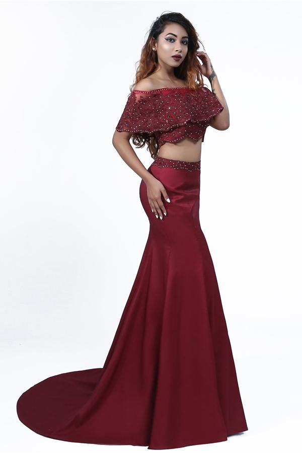 Elegant Mermaid Off the Shoulder Two Pieces Beades Burgundy Prom STC20416