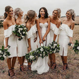 Simple Off the Shoulder White Short Bodycon Bridesmaid Dresses, Prom STC20487