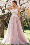 2021 Tulle Prom Dresses Scoop With Applique A Line