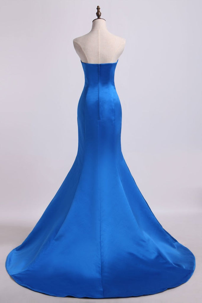 2019 Evening Dresses Sweetheart Mermaid/Trumpet Satin Court Train