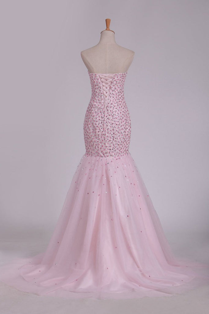 2019 Sweetheart Prom Dresses Beaded Bodice Mermaid Sweep Train