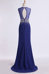 2019 Prom Dresses Scoop Sheath Beaded Tulle Bodice With Long Chiffon