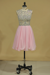 Homecoming Dresses Scoop Beaded Bodice Short/Mini Chiffon A Line