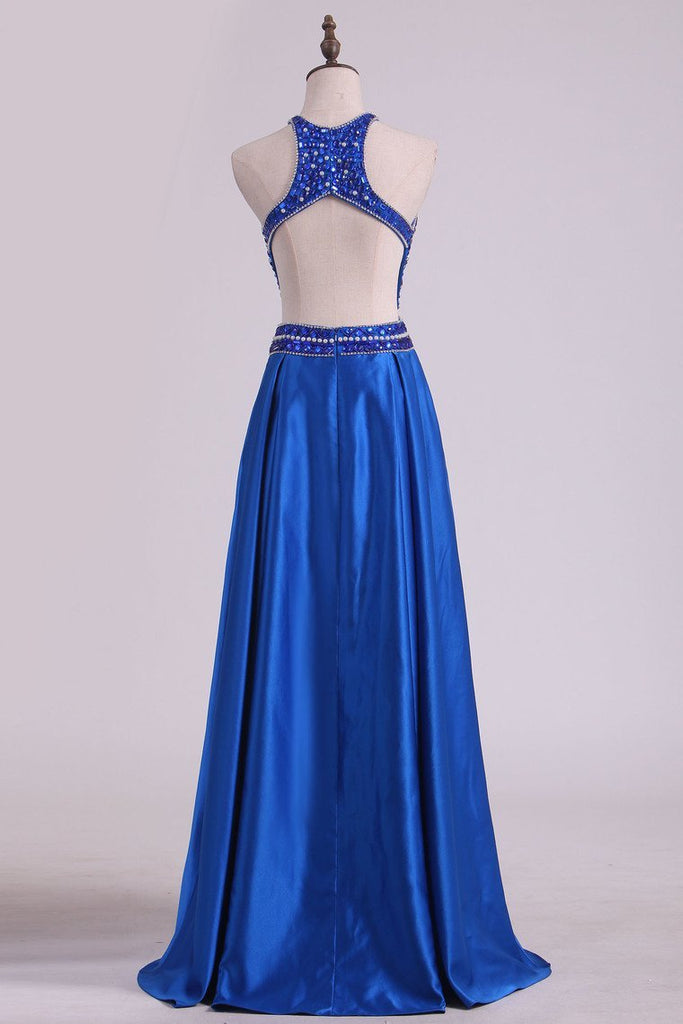 Floor Length A Line Scoop Open Back Prom Dresses Satin Beaded Bodice