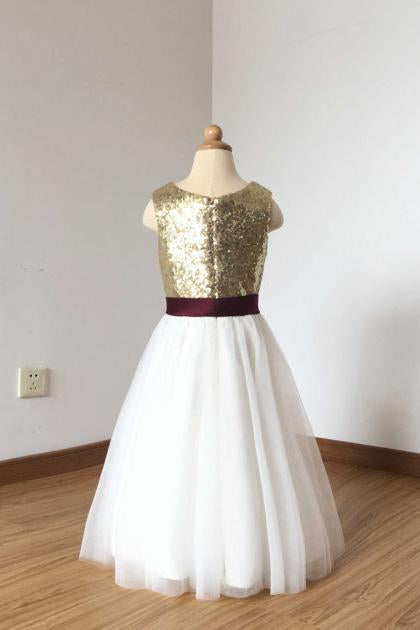 2019 A Line Simple Light Gold Sequin Ivory Tulle Scoop Flower Girl Dress with Burgundy Sash