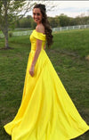 Elegant Yellow Off The Shoulder Satin A Line Princess with Pockets Prom Dresses