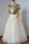 Gold Sequin Cream Tulle Ivory Scoop Flower Girl Dress with Flower Dress for Wedding Party