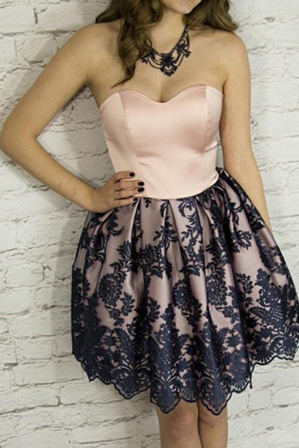 Cute A-Line Sweetheart Strapless Short Blush Satin Homecoming Dress with Appliques