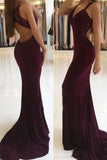 Trumpet Mermaid V-neck Jersey Appliques Burgundy Lace Open Back Prom Dresses