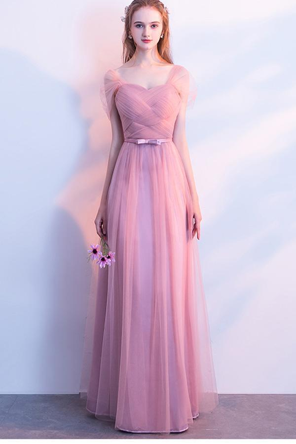 Elegant A-Line Pink Tulle Off the Shoulder Sweetheart Lace up Prom Bridesmaid Dresses