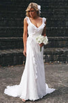 Elegant Sheath V Neck Chiffon Ruffles Sleeveless Open Back Wedding Dresses