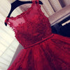 Fashion A-Line Scoop Sleeveless Red Long Homecoming Dress With Appliques