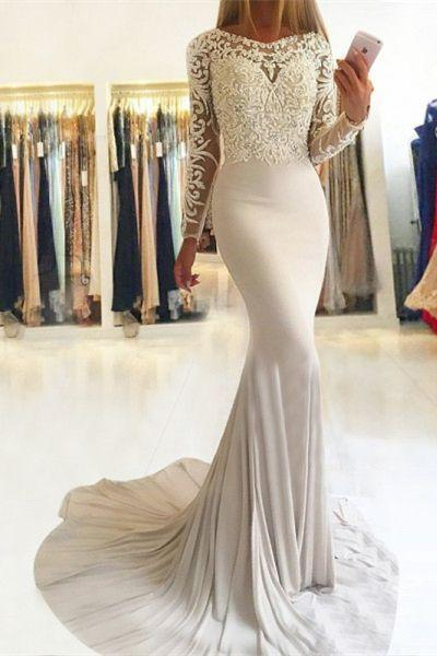 Elegant Mermaid Long Sleeve Scoop Lace Prom Dresses Long Evening Dresses