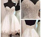 White Short Homecoming Gown Tulle Homecoming Gowns Ball Gown Sweetheart Party Dress