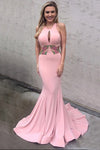 Decent Round Neck Keyhole Sweep Train Pink Mermaid Prom Dress with Appliques