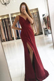 Elegant A Line Satin V-neck Ruffles Burgundy Side Split Sleeveless Prom Dresses