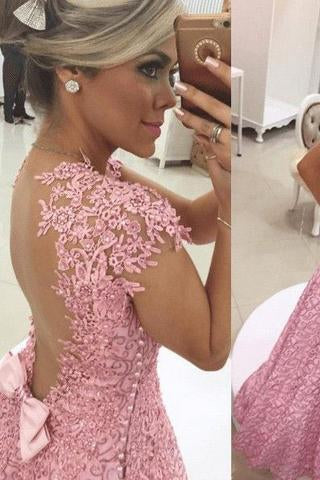 Gorgeous A-line Sweetheart Short Sleeve Backless Sweetheart Cheap Lace Prom Dresses