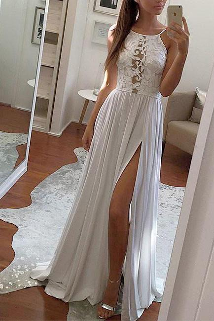 Elegant Sexy Simple Lace Chiffon Long White Halter with Slit Prom Dresses