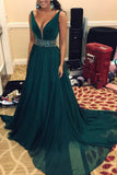 Elegant A Line Beads Green V Neck Long Chiffon Sleeveless Prom Dresses